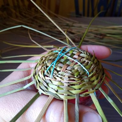 tying-a-sea-urchin-basket-to-a-mould